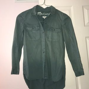 Madewell army green button down top